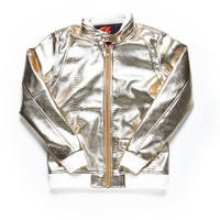 METALLIC PYTHON RIDER JACKET / GOLD