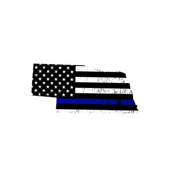 Nebraska Distressed Subdued US Flag Thin Blue Line/Thin Red Line/Thin Green Line Sticker. Support Police/Firefighters/Military