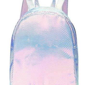 School Backpack trendy Trendy Fashion Laser Gradient Embossed Pattern Pu Leather Young Girl's Travel Backpacks For Teenage Girls Female School Bag AT_54_4