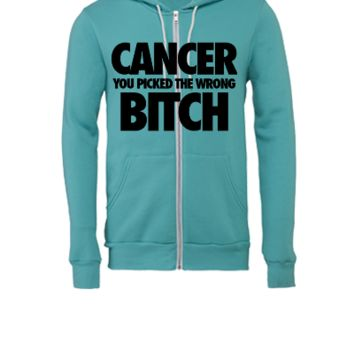Cancer You Picked The Wrong Bitch - Unisex Full-Zip Hooded Sweatshirt