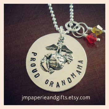 "Proud Grandma/Niece/Aunt w/ Crystals - USMC - Hand Stamped 18"" Sterling Silver Necklace (Official Hobbyist of the USMC)"