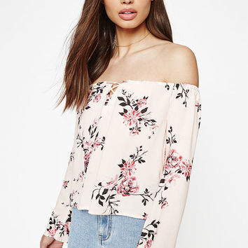 Kendall & Kylie Floral Off-The-Shoulder Top at PacSun.com