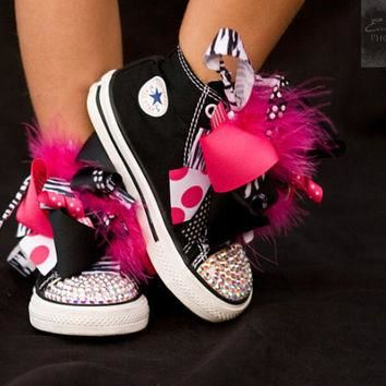 Converse SASSY ZEBRA Black High Tops with Princess Boutique Bows (Sizes 2 Infant - 10