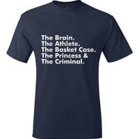 Brain-Athlete-Basket Case-Princess-Criminal Breakfast Club Iconic Movie T Shirt Mens Womens 80's Tee
