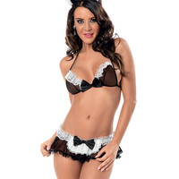 At Your Service Maid Bra, Skirted Panty & Headpiece Black-white O-s