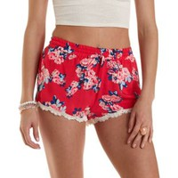 Red Combo Floral Print Lace-Trim Shorts by Charlotte Russe