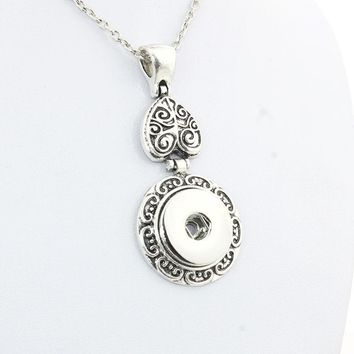 Boom Life Vintage women's flower 18mm metal snap button long chain necklaces&pendant female DIY jewelry one direction