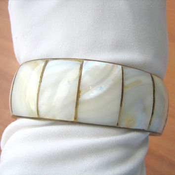 Bangle Mother of Pearl and Brass Bracelet Vintage