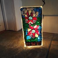 Flower Night Light, Poinsettia Light, Lamp, Mosaic Lamp, Home Decor Lighting, Christmas Decor