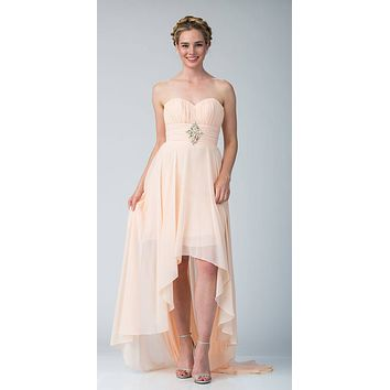 Peach Bridesmaid High Low Dress A Line Chiffon Sweetheart