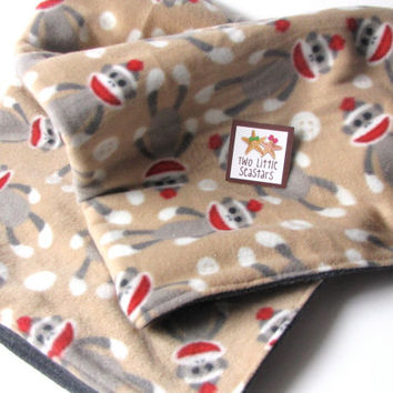 SALE Sock Monkey Baby Blanket by twolittleseastars on Etsy