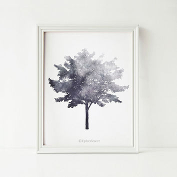 Tree art, Black and white art print, Gray print Modern decor, Nature decor, Gray art print, Tree decor, Home decor Printable wall art print