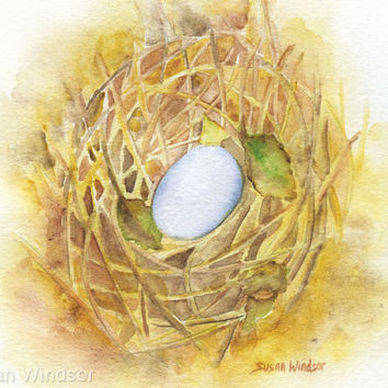 Watercolor Painting Birds Nest Original Artwork 8 x 10