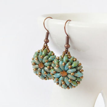 Bronze turquoise beaded earrings, beadwork earrings, dangle earrings, seed beaded earrings, superduo earrings, office jewelry