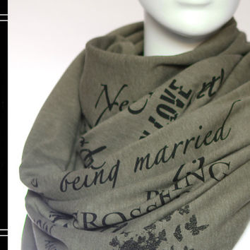 Pride and Prejudice book on the scarf - Olive - Text Scarf - Book - Jane Austen - Quotes - Infinity scarf - Gift
