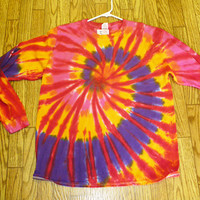 Sizes Med LARGE XL Handmade Long Sleeve Tie Dye Shirt womans girls