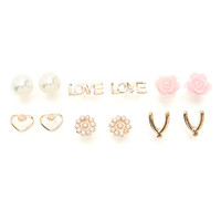 With Love From CA 6 Love Rose Heart Earring Set at PacSun.com