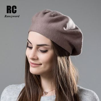 [Rancyword] High Quality Women Winter Hat Berets Cashmere Wool Berets For Girls Casual Knitted Warm Winter Hats Beanie RC2045