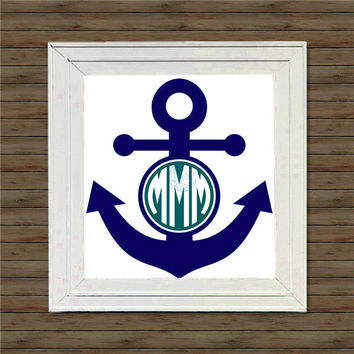 ANCHOR MONOGRAM vinyl decal * wall decal * monogram on canvas * block script monogram * vine script monogram * names * initials