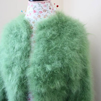 Ready to be shipped Today, Awesome Green Wedding Bolero 100% angora rabbit Handmade SUPER FLUFFY Shrug / This Bolero Will fit size S/M/L
