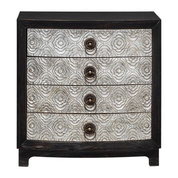 Ramila Light Gray & Rubbed Black Hand Carved Accent Chest by Uttermost