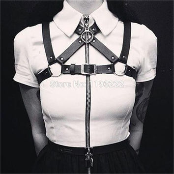 Cool Fashion Sexy Strap Belts Handmade Leather harness Shoulder Strap Body Bondage Caged Frame Belt