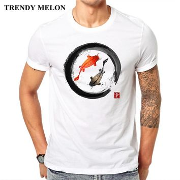 Trendy Melon Vintage T shirt Men Japanese Koi Ink Shodo Tee Funny White Short Sleeve Tops Hipster Clothing JAA24