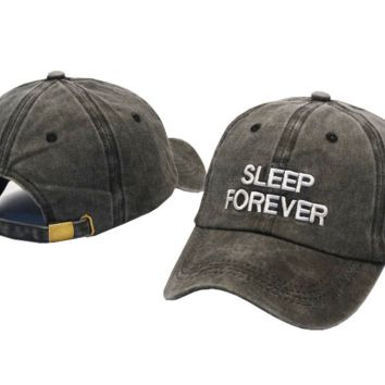 SLEEP FOREVER Embroidered Baseball cotton cap Hat