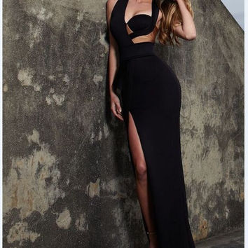 Posh Girl Open Back Peplum Bandage Maxi Dress