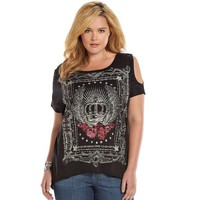 Rock & Republic Wing Crown Cold-Shoulder Scoopneck Graphic Top - Women's Plus Size, Size: