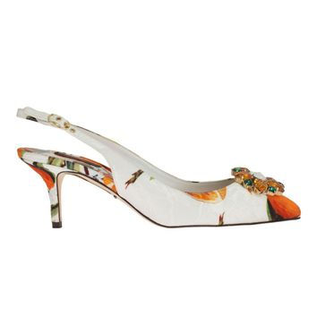 Dolce & Gabbana Orange Brocade Crystal Slingbacks