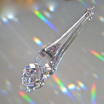 Swarovski Crystal Round Tip  Wand  Icicle Prism Ornament, 75mm,  Logo