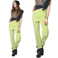 Vintage 90s Slime Green Jeans - High Waisted Jeans - Mom Jeans - 90s Jeans - Lime Green - Size 29 - Acid Wash - Neon - 80s Jeans High Waist