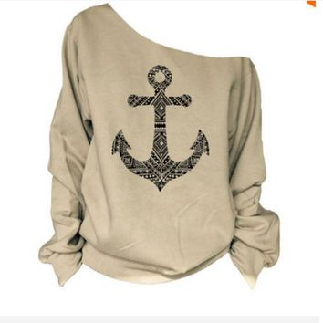 Ship's Anchor Pattern Knit Top Long Sleeve Shoulder Print T - Shirt MMS1371