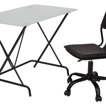 Office Star Black 2 Piece Desk and Chair Set