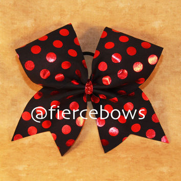 Red Metallic Polka Dot Cheer Bow