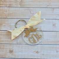 Monogrammed Key Chain, Glitter Monogram Acrylic Key chain, Monogrammed Gifts, Bridesmaid Gifts, Wedding Favors, Bridesmaid Gifts