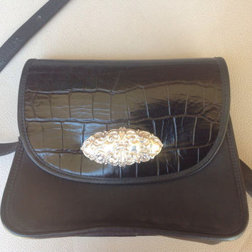 Zippi Black Leather Purse Crocodile Embossed Brighton Inspired with Silver Accents and Magnetic Enclosure