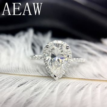 AEAW 14K White Gold  Pear Cut Moissaite 1ct DF Lab Diamond Halo Engagement Ring Free shipping For Women