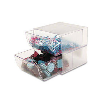 two-drawer cube organizer clear plastic 6 x 6 Case of 2