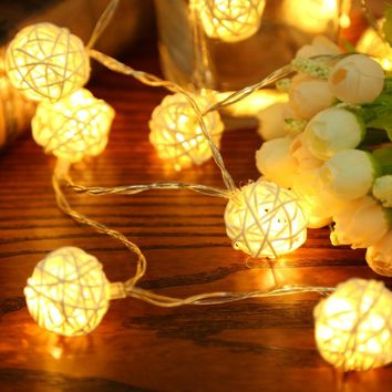 20pcs LED Light 2M Warm White Rattan Ball String Fairy Lights String For Christmas Xmas Wedding Decoration Party Hot Dry Battery