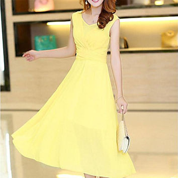 Women's Sexy/Casual Micro-elastic Sleeveless Midi Dress
