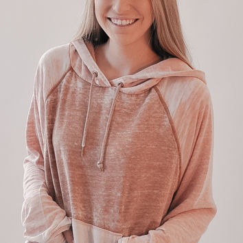 Free People Tri Color Hoodie - Neutral Combo