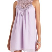 Lace Mock Neck Halter Shift Dress by Charlotte Russe - Lilac
