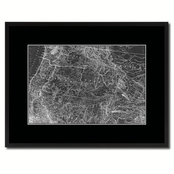 Us Pacific Northwest Vintage Monochrome Map Canvas Print, Gifts Picture Frames Home Decor Wall Art