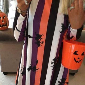 New Orange Striped Witch Print A-Line Halloween Long Sleeve Fiesta Casual Mini Dress