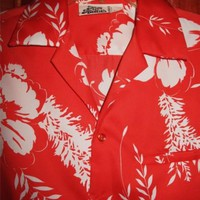 HILLO HATTIE HAWAIIAN SHIRT VINTAGE FLORAL RED CASUAL!SIZE M !MADE IN HAWAII