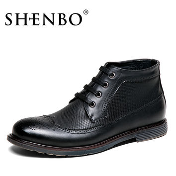 Fashion Brogue Style Men Boots,  Fashion Men Ankle Boots, Black Men Autumn Winter Boots