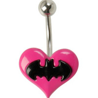 DC Comics Batman Pink Heart 14G Steel Navel Barbell