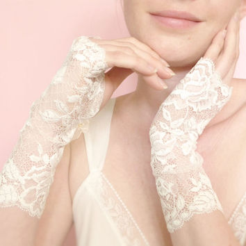 Long off white lace fingerless bridal gloves